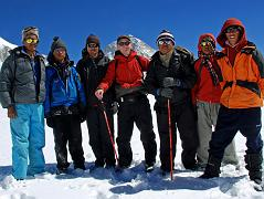 We stopped for a team photo just before the West Col - from left to right: climbing Sherpa Palde, cook Pemba Rinjii, porter Pal Dorje, Jerome Ryan, guide Gyan Tamang, porter Tenzing, and cook helper Pasang.